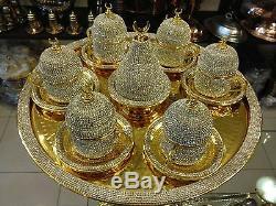 Handmade Copper Turkish Coffee Espresso Serving Set Swarovski Crystal Coated Cup