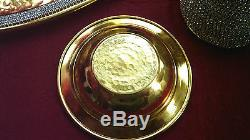 Handmade Copper Turkish Coffee Espresso Set Swarovski Crystal Coated Gold Color