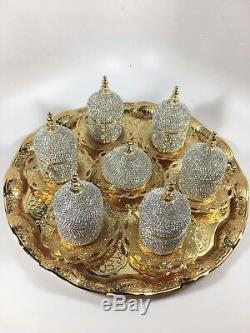 Handmade Copper Turkish Coffee Espresso Tea Serving Set For 6 Swarovski New Gift