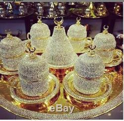 Handmade Turkish Arabic Coffee Cup Saucer Set (colored)Turkish cooper original