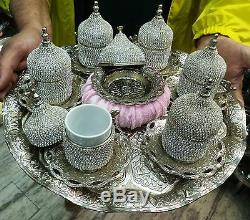 Handmade Turkish Swarovski Coated Copper/PorcelainCoffee & Espresso Serving Set