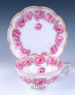 Haviland Limoges Drop Rose Tea Cup & Saucer Set Porcelain Pink Schleiger 55 #1