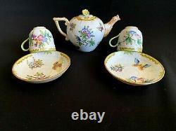 Herend Porcelain Handpainted Antique Queen Victoria Mocha Pot + Cups And Saucers