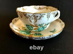 Herend Porcelain Handpainted Antique XXL Large Tea Cup And Saucer