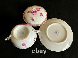 Herend Porcelain Handpainted Chinese Bouquet Raspberry Soup Cup And Saucer