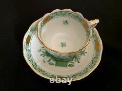 Herend Porcelain Handpainted Indian Basket Green Mocha Cup And Saucer 711/fv
