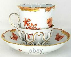 Herend Queen Victoria VBOH Trembleuse cup and saucer Fortuna Rust Porcelain