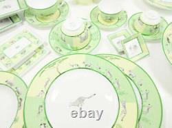 Hermes Africa Green Plate Dish Cup Saucer Tableware set Animal Porcelain Mint