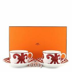 Hermes Balcon du Guadalquivir 4-Piece Teacup & Saucer Set Printed Porcelain