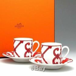 Hermes Balcon du Guadalquivir Coffee Cup and Saucer 2 set Red 160ml Dinnerware