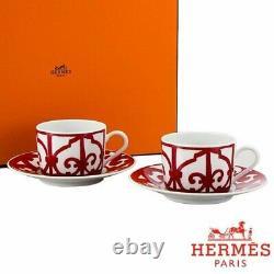 Hermes Balcon du Guadalquivir Tea Cup and Saucer 2 set Red 160ml Dinnerware 9520