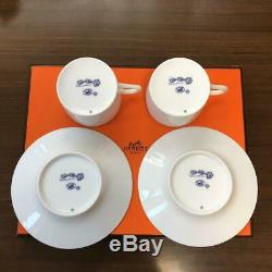 Hermes Chaine D'ancre Cup and Saucer 2 set Blue Dinnerware coffee M149