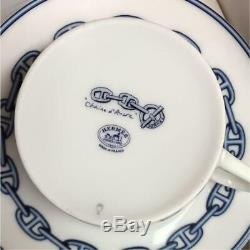 Hermes Chaine D'ancre Cup and Saucer 2 set with Box Blue Dinnerware coffee M20
