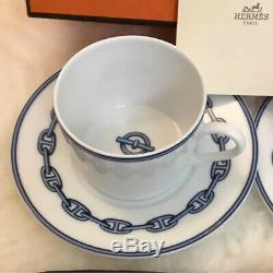 Hermes Chaine D'ancre Cup and Saucer 2 set with Box Blue Dinnerware coffee R15