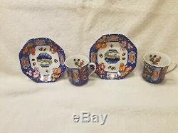 Hermes Demitasse Cup & Saucer Marquetry Stones East & West Blue Floral Set