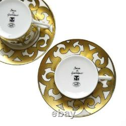 Hermes Guadalquivir Gold Porcelain Cup Saucer 2 set Dinnerware Tableware