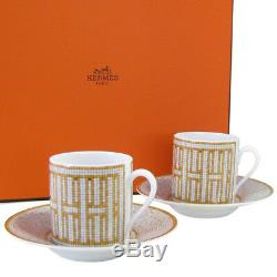 Hermes Mosaique au 24 Coffee Cup & Saucer Set of 2 Gold Porcelain Dinnerware 36