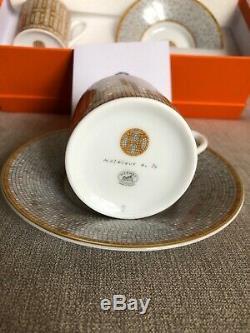 Hermes Mosaique au 24 Coffee cup & saucer Set of 2 Gold Porcelain 100% Aut