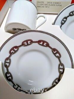 Hermes Porcelain Chaine D'ancre Platinum Espresso Cup Saucer Tableware set 4117