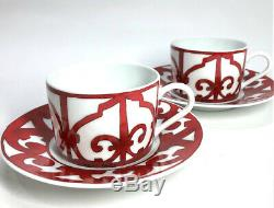 Hermes Porcelain Guadalquivir Red Cup Saucer 2 set Tableware Ornament Auth New