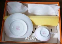 Hermes Porcelain Pivoines Tea Cup Saucer Tableware set Pink Petal Ornament New