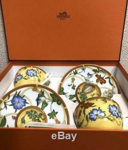 Hermes Porcelain Siesta Tea Cup Saucer Tableware set Yellow Floral Ornament New