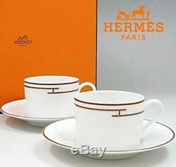 Hermes Porcelain Tea Cup Saucer Rythme Red 2 set Tableware Ornament Auth New