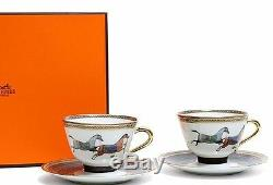 Hermes Porcelain Tea Cup Saucer set Cheval d'Orient Horse Tableware Ornament New