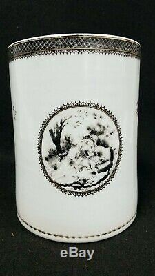 Huge 18th / 19th c Chinese Export Porcelain Mug European Subject Grisaille