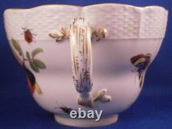 Huge Antique Meissen Porcelain Bird Scene Cup & Saucer Porzellan Tasse Scenic