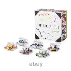 ILLY ART COLLECTION Coffee Set by Emilio Pucci 6 Cappuccino + 6 Saucers