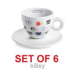 Illy Art Collection 25° Set of 6 Espresso Cups + Saucers by IPA Limited Edition