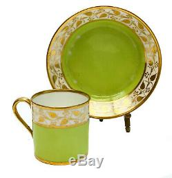 Imperial Manufacture De Sevres France Green Porcelain Cup & Saucer, 1811