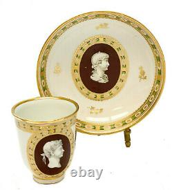 Imperial Royal Vienna Porcelain Cameo Cup & Saucer, circa 1900
