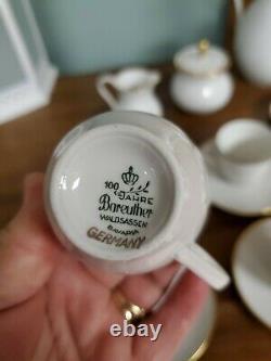 Jahre Bareuther Waldsassen Bavaria Germany Coffee Set Pot Demitasse Cups Saucers