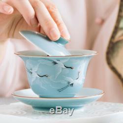 Jingdezhen porcelain galze handpainted crane poetry gaiwan ceramic tureen & lid