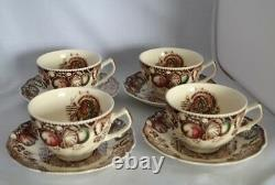 Johnson Brothers His Majesty Turkey Porcelain Dinner Plates 9 ea 8 Cup + Saucer