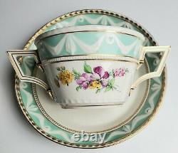 KPM Berlin Porcelain Kurland Decor 41 Handled Cup with Lid Saucer 1st Quality