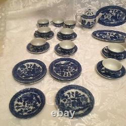 Kids Mini 48 Piece BLUE WILLOW Tea Set Cups Saucers Plates Platters Creamer MORE