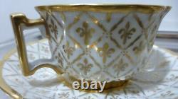 LE TALLEC Paris 2 tasses et sous-tasses. 1949. Lys. Sèvres. Cups & saucers. Porcelain