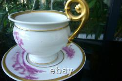 LIMOGES CHOCOLATE CUP AND SAUCER PORCELAIN by TOUZE LEMAÎTRE et BLANCHER