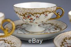 LIMOGES CRA Redon Porcelain Gold Gilt 4 Pedestal Footed Punch Cups & 4 Saucers B