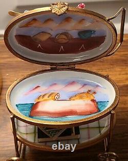 LIMOGES FRANCE PEINT MAIN PORCELAIN TEA CART SERVER WithCUPS & SAUCERS TRINKET BOX