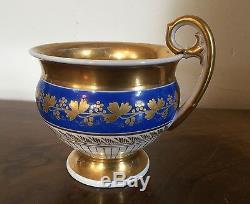 Large 19th c. Antique French Empire Old Paris Porcelain Tea Cup Blue Gold Flower