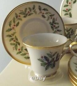Lenox Holiday Pattern Christmas 12 Pc Set Porcelain China Cups Saucers Plates Nw