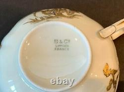 Limoges Bernardaud B&Co Porcelain Asian Oriental Design 4 Cups and Saucers