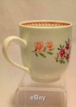 Liverpool Porcelain Richard Chaffers Coffee Cup Floral Spray Antique circa 1760
