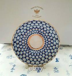 Lomonosov Porcelain Teapot, Cup and Saucer Cobalt Net 22k G. Tea set Egoist. NEW