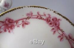 Lovely 18th Century Sevres Porcelain Cup & Saucer with Puce Flowers Dated 1757