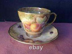 Lovely Cup & Saucer Hand Painted Fruit & Signed Malvern Studios Worcester